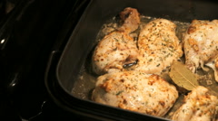 Baking chicken legs in the oven Stock Footage