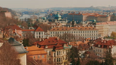 Panning Shot of the Mala Strana District in Prague Stock Footage