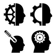 Brain Tools Flat Vector Icons - stock illustration