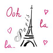 Eiffel Tower with hearts hand drawn Stock Illustration