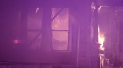 House Engulfed In Flames Stock Footage