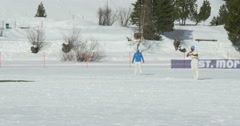 Cricket on ice bowling Stock Footage