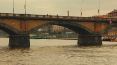 Close-up View of the Palacky Bridge from Vltava River in Prague Stock Footage