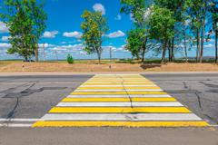Empty Country highway with a pedestrian crossing Stock Photos