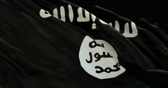 Ultra realistic looping flag: ISIL ISIS Islamic State Stock Footage