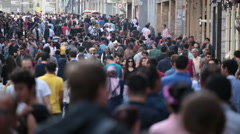 Crowd of people walking (afternoon). Istanbul/Taksim/Istiklal/April/2016 - stock footage