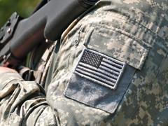 US flag sleeve patch - stock photo