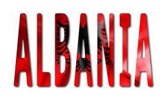 Albania Word With Flag Texture - stock illustration
