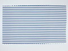 Blue Striped fabric sample - stock photo