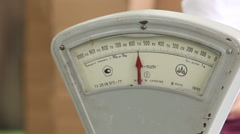 Vintage old weight scale. Stock Footage
