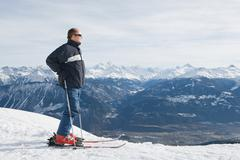 Mature adult male skier Stock Photos