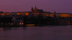 Close-up Shot of the Vltava River and Prague Castle at Dusk - stock footage