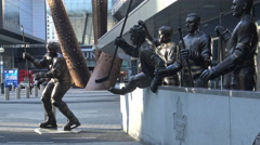 Maple Leafs Legends Row Sculptures at ACC, Toronto - stock footage