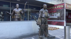 Maple Leafs Legends Row Sculptures at ACC, Toronto Stock Footage