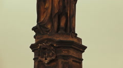 Detail of a Religious Statue in Charles Bridge Prague Stock Footage