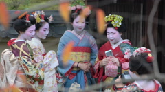 Young women dressed in traditional Geisha dress taking photographs Stock Footage