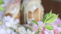 Orthodox Easter cakes in modern interior and with flowers, Dolly shot Stock Footage