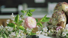 Orthodox Easter cakes with  flowers, close up dolly shot Stock Footage