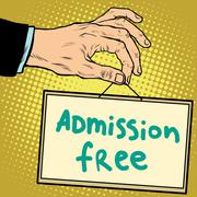 Hand sign admission free Stock Illustration