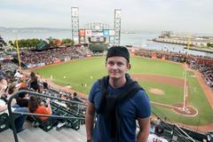 Man standing in baseball stadium in San Francisco, California, USA Kuvituskuvat