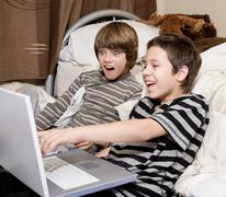 Boys on computer Stock Photos
