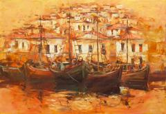 Boats on the island harbor,handmade painting - stock illustration