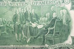 Declaration Signing independence 1776, in Anniversary two USA dollars 1976 Stock Photos