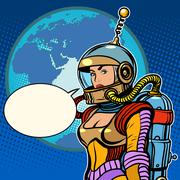 Stock Illustration of Girl cosmonaut on planet Earth