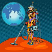 Girl cosmonaut cleaned of Mars - stock illustration