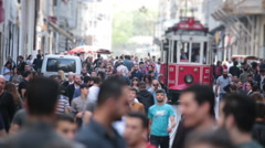 Nostalgia passing tram the streets. Istanbul/Taksim/Istiklal/April/2016 - stock footage
