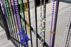 Mardi gras beads hanging on railing in New Orleans, Louisiana, USA Kuvituskuvat