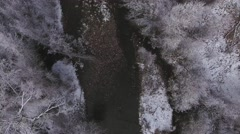 High aerial shot of a beautiful snowy river and tall trees Stock Footage