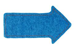 Pointer made of denim fabric with yellow stitching  with space for your text Stock Photos