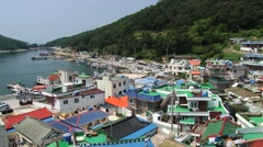 View to the harbor in Tongyeong, Korea. Stock Footage