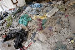 Trash and rubble at demolition site - stock photo