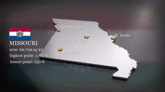 3D animated Map of Missouri - stock footage