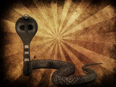 Cobra snake on grunge background - stock illustration