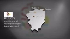 3D animated Map of Illinois Stock Footage