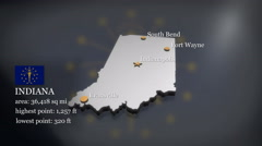 3D animated Map of Indiana Stock Footage