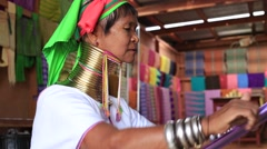 Portrait padaung tribe long-necked tribe women. Inle lake, Myanmar, Burma Stock Footage