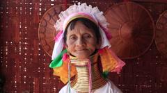Portrait padaung tribe long-necked tribe women. Inle lake, Myanmar, Burma - stock footage