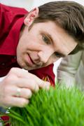 Man feeling grass with his fingers - stock photo