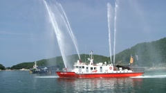 Freboat in the harbor of Tongyeong during Hansan festival in Tongyeong, Korea. Stock Footage
