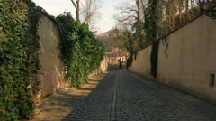 POV Walk Through an Old Carriageway in Prague on a Sunny Day Stock Footage