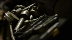 Bolts and nuts closeup. Stock Footage