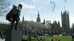 Statue of David Lloyd George in Parliament Square, London, England. - stock footage