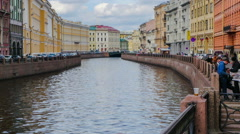 Moyka River. Saint-Petersburg. timelapse Stock Footage