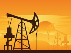 Oil Pump at Sunset - stock illustration