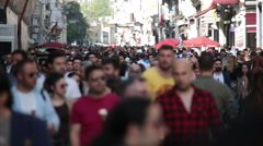 Crowd of people walking the streets. Istanbul/Taksim/Istiklal/April/2016 - stock footage
