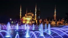 Hagia (Aya) Sophia - a historical monument in Istanbul at night. Stock Footage
